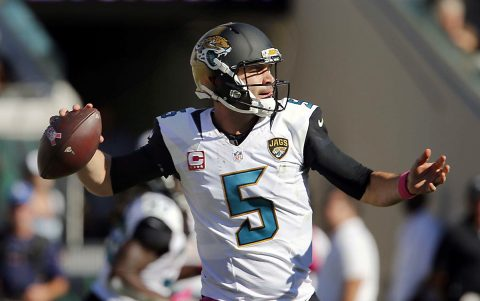 Jacksonville Jaguars quarterback Blake Bortles (5) drops to throw a pass during the second half of a football game against the Oakland Raiders at EverBank Field. The Raiders won 33-16. (Reinhold Matay-USA TODAY Sports)