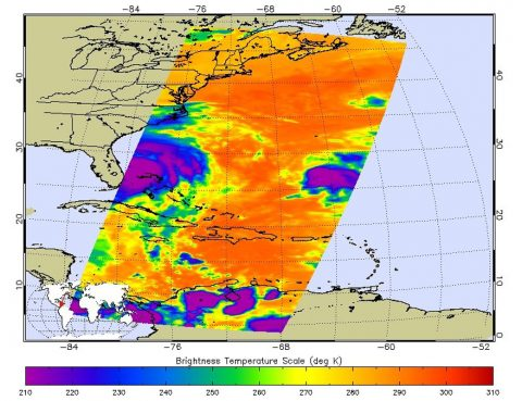 At 11:29 p.m. PDT on Oct. 6 (2:29 a.m. EDT on Oct. 7), NASA's Atmospheric Infrared Sounder (AIRS) instrument on NASA's Aqua satellite produced this false-color infrared image of Matthew as the storm moved up Florida's central coast. The image shows the temperature of Matthew's cloud tops or the surface of Earth in cloud-free regions, with the most intense thunderstorms shown in purples and blues. (NASA/JPL-Caltech)
