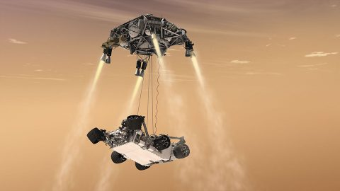 NASA's Mars 2020 rover will use a landing system nearly identical to the 2012 landing of Curiosity (depicted in this artist's concept) but with added precision from the Lander Vision System. (NASA/JPL-Caltech)