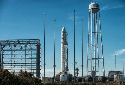 The Orbital ATK Antares rocket, with the Cygnus spacecraft aboard. (NASA/Bill Ingalls)