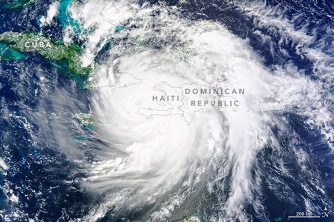 On October 4, 2016, Hurricane Matthew made landfall on southwestern Haiti as a category-4 storm—the strongest storm to hit the Caribbean nation in more than 50 years. Just hours after landfall, the Moderate Resolution Imaging Spectroradiometer (MODIS) on NASA's Terra satellite acquired this natural-color image. At the time, Matthew had top sustained winds of about 230 kilometers (145 miles) per hour. Credits: NASA Earth Observatory image by Joshua Stevens