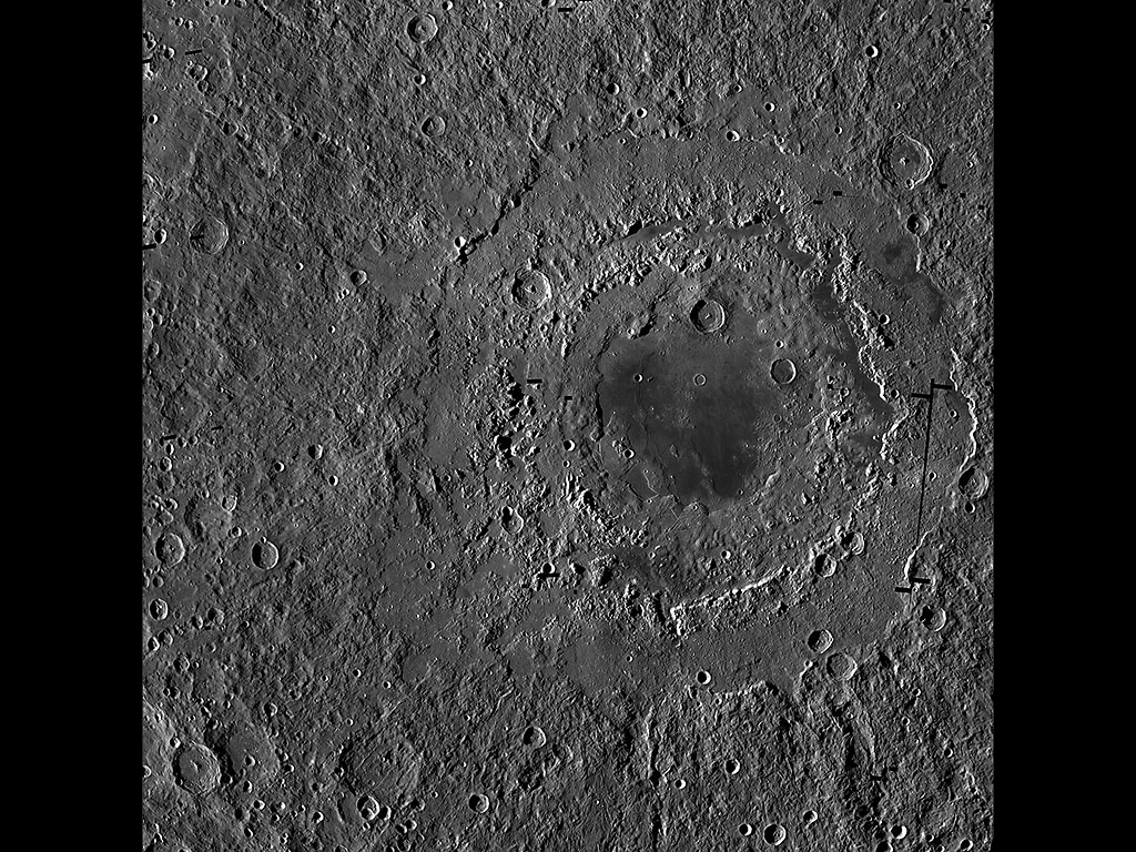 Orientale basin is about 580 miles (930 kilometers) wide and has three distinct rings, which form a bullseye-like pattern. This view is a mosaic of images from NASA's Lunar Reconnaissance Orbiter. (NASA/GSFC/Arizona State University)