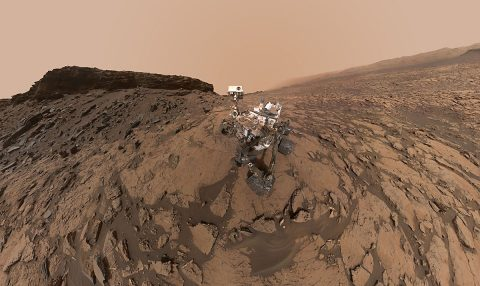 "This September 2016 self-portrait of NASA's Curiosity Mars rover shows the vehicle at the ""Quela"" drilling location in the scenic ""Murray Buttes"" area on lower Mount Sharp. The panorama was stitched together from multiple images taken by the MAHLI camera at the end of the rover's arm. (NASA/JPL-Caltech/MSSS)"