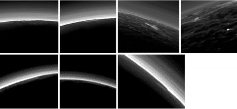 Pluto's present, hazy atmosphere is almost entirely free of clouds. However, scientists from NASA's New Horizons mission have identified some cloud candidates -- suggestive of possible, rare condensation clouds -- in images taken during the spacecraft's July 2015 flight through the Pluto system. (NASA/Johns Hopkins University Applied Physics Laboratory/Southwest Research Center)