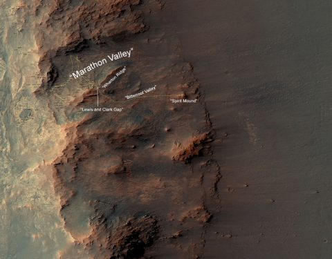 "This map show a portion of Endeavour Crater's western rim that includes the ""Marathon Valley"" area investigated intensively by NASA's Mars Exploration Rover Opportunity in 2015 and 2016, and a fluid-carved gully that is a destination to the south for the mission. (NASA/JPL-Caltech/Univ. of Arizona)"