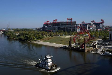 General view of Nissan Stadium and the Cumberland River. (Kirby Lee-USA TODAY Sports)