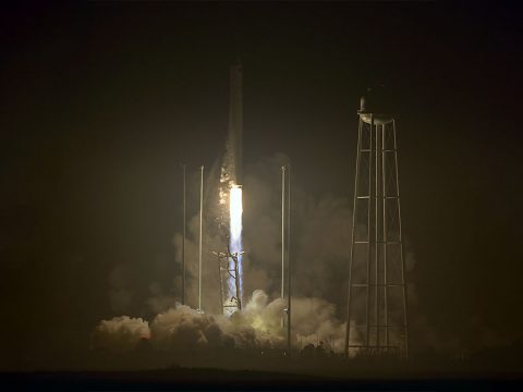 The Orbital ATK Antares rocket, with the Cygnus spacecraft onboard, launches from Pad-0A, Monday, Oct. 17, 2016 at NASA's Wallops Flight Facility in Virginia. Orbital ATK's sixth contracted cargo resupply mission with NASA to the International Space Station is delivering over 5,100 pounds of science and research, crew supplies and vehicle hardware to the orbital laboratory and its crew. (NASA/Bill Ingalls)