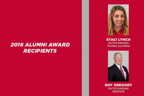 2016 Alumni Awards Recipients Staci Lynch and Roy Gregory. (APSU Sports information)