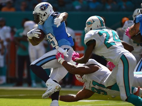 Tennessee Titans quarterback Marcus Mariota (8) attempts a pass against the Miami Dolphins during the first half at Hard Rock Stadium. (Jasen Vinlove-USA TODAY Sports)