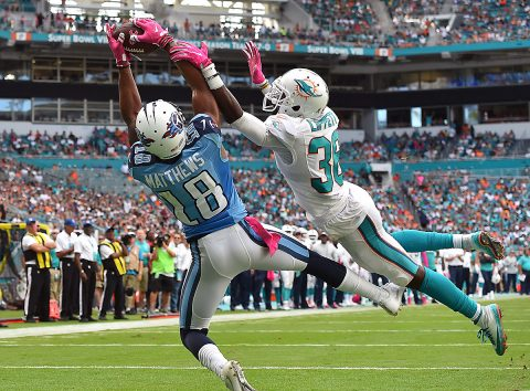 Tennessee Titans wide receiver Rishard Matthews (18) catches a pass for a touchdown against the defense of Miami Dolphins cornerback Tony Lippett (36) during the second half at Hard Rock Stadium. The Tennessee Titans defeat the Miami Dolphins 30-17. (Jasen Vinlove-USA TODAY Sports)