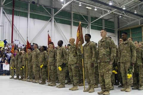 Soldiers from the 2nd Battalion, 44th Air Defense Artillery Regiment, 101st Airborne Division (Air Assault) Sustainment Brigade, 101st Abn. Div., wait to be released to their families, Nov. 5, 2016, at Hanger 3 on Fort Campbell, Ky. during their homecoming ceremony after spending nine months overseas. (Sgt. Neysa Canfield/101st Airborne Division Sustainment Brigade Public Affairs)