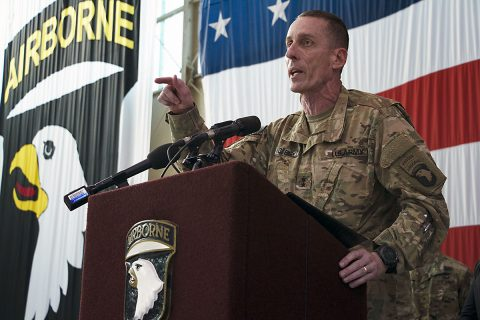 Maj. Gen. Gary J. Volesky, commanding general of the 101st Airborne Division (Air Assault) and Fort Campbell, speaks to Families, friends and Soldiers of the 101st Airborne Division during a welcome home ceremony at Hangar 3, Fort Campbell, Ky., Nov. 18, 2016. Volesky spoke of his Air Assault Soldiers' success in enabling Iraqi Security Forces to defeat DA'ESH and begin the retaking of Mosul in Iraq as the Combined Joint Forces Land Component Command - Operation Inherent Resolve headquarters.
