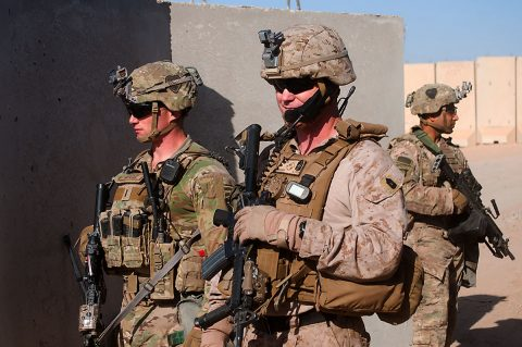 U.S Army 1st Lt. Patrick Abele, left, 1st Squadron, 75th Cavalry Regiment, Task Force Strike, and U.S. Marine Corps Master Sgt. Travis Madden , right, Special Purpose Marine Air Ground Task Force – Crisis Response – Central Command, monitor the status of a joint United States Army and United States Marine Corps readiness drill, Qayyarah West Airfield, Iraq, Nov. 17 2016. (U.S. Army photo by 1st Lt. Daniel Johnson)