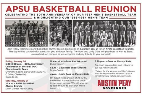 Austin Peay State University Basketball reunion set for January 21st