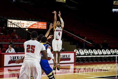 Austin Peay junior Josh Robinson drains the game winner with 1.9 seconds left in the game. (APSU Sports Information)