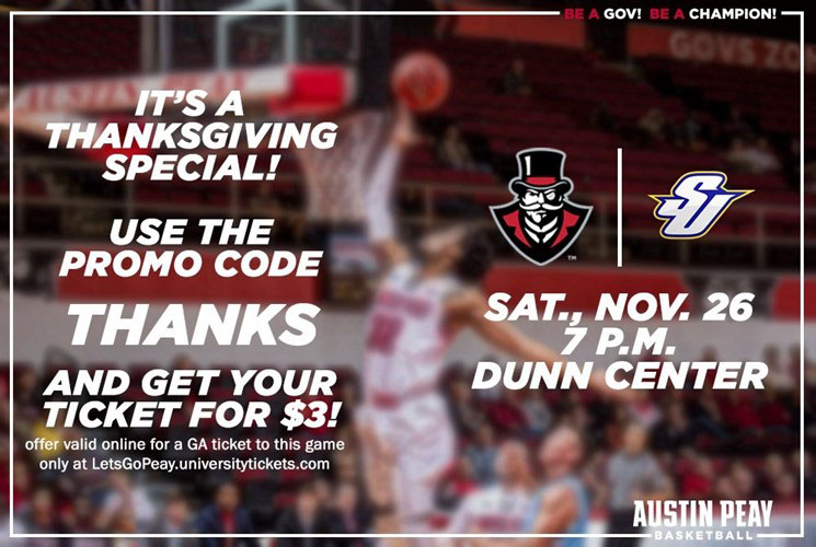 APSU has Online Ticket Special for November 26th Men's Basketball Game