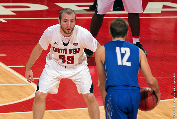 Austin Peay sophomore point guard Zach Glotta scores 17 points in Govs win over Thomas More in an exhibition match Tuesday night. (APSU Sports Information)