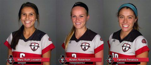 APSU Soccer - Mary Ruth Locastro, Kirstin Robertson, and Pamela Penaloza