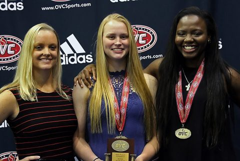 (L to R) Austin Peay Volleyball head coach Taylor Mott, Kristen Stucker and Ashley Slay. (APSU Sports Information)
