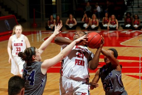 Austin Peay senior center Tearra Banks scores 18 points in win over Trevecca at the Dunn Center Saturday afternoon. (APSU Sports Information)