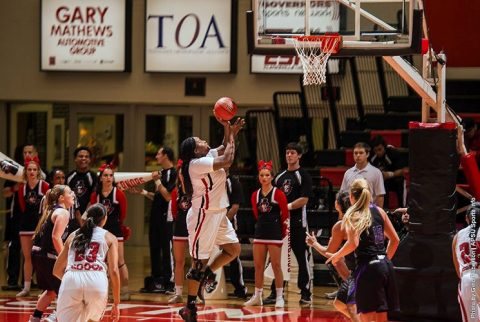 Austin Peay Basketball's Tearra Banks nets 23 points and 11 rebounds in exhibition win over Kentucky Wesleyan Monday night. (APSU Sports Information)