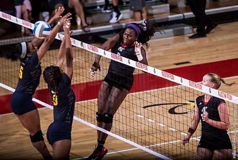 Austin Peay Volleyball's Ashley Slay had 19 kills in loses to Murray State at the Dunn Center Wednesday night. (APSU Sports Information)