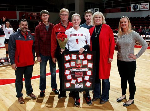 Austin Peay outside hitter Sammie Ebright celebrates her senior night. (Robert Smith, APSU Sports Information)