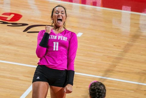 Austin Peay redshirt sophomore Christina White has 14 kills and 10 digs in three set sweep of Eastern Illinois Saturday afternoon. (APSU Sports Information)