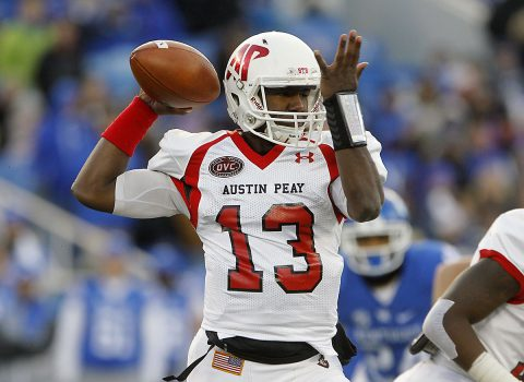 Austin Peay Governors quarterback JaVaughn Craig (13) passes the ball against the Kentucky Wildcats in the first half at Commonwealth Stadium. (Mark Zerof-USA TODAY Sports)