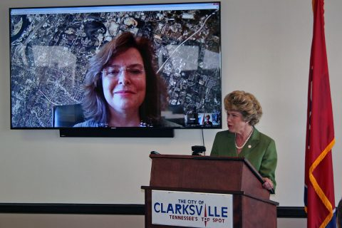 "Clarksville Mayor Kim McMillan and Maura Sullivan, chief operating officer for the City of Chattanooga, conduct a live video chat, or ""Hangout,"" to demonstrate some one of the capabilities of G Suite. The City of Clarksville announced Tuesday that it had ""gone Google' and chosen G Suite to provide of a comprehensive package of workplace productivity applications. Sullivan said Chattanooga started using G Suite a year ago and has been pleased with the results."