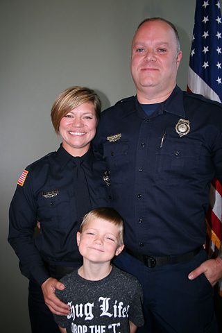Sara and Fire Engineer Jason Carlisle became the first husband-and-wife team to serve Clarksville Fire Rescue as Sara was sworn in Friday along with 18 other new firefighters. Son Levi, 6, was on hand for the ceremony.