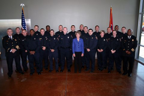 Clarksville Fire Rescue Chief Mike Roberts and Mayor Kim McMillan welcomed 19 new firefighters to the department on Friday.