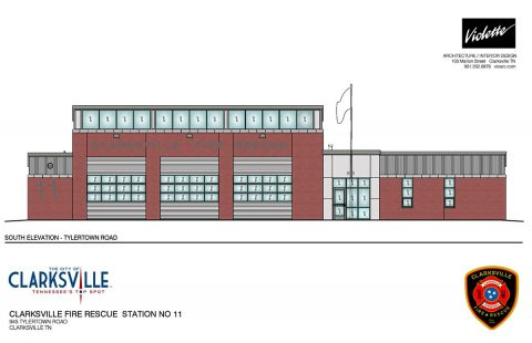 This drawing shows Clarksville Fire Rescue Station 11, which was designed by Violette Architecture/Interior Design, Clarksville