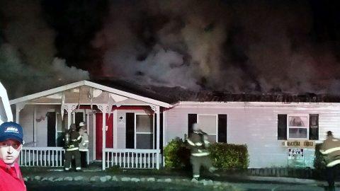 Trailer fire on Cedarbend Road