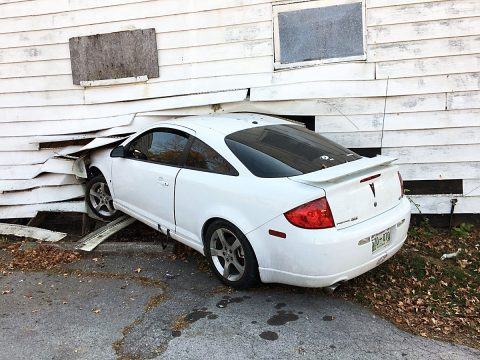 Sunday afternoon, a vehicle crashed into a building near the intersection of Daniel Street and Gracey Avenue.