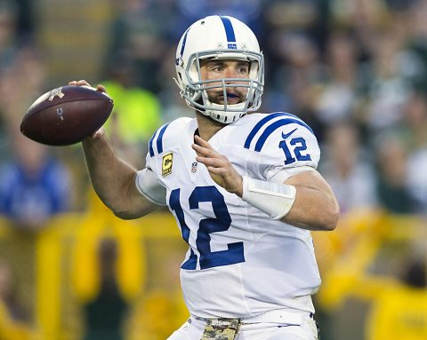 Indianapolis Colts quarterback Andrew Luck (12) throws a pass during the second quarter against the Green Bay Packers at Lambeau Field. (Jeff Hanisch-USA TODAY Sports)