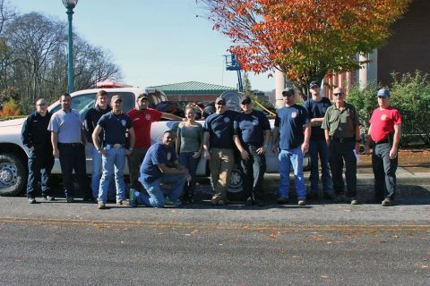 Five MCEMS personnel and 14 volunteer fire personnel get ready to head to East Tennessee.
