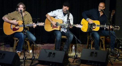Brady Seals and Gordon Kennedy launch new series with guest Larry Stewart (center).