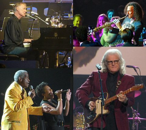 Scenes from the show Bruce Hornsby, Kenny G, Russell Thompkins, Jr, Melinda Doolittle and inductee Ricky Skaggs. (Rich Lynch)