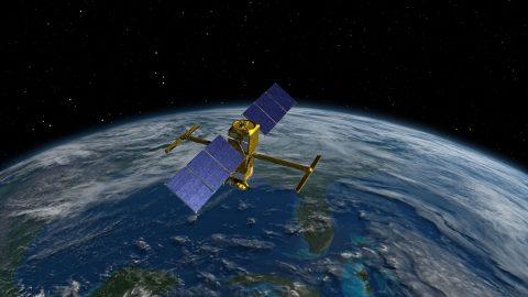 Artist's rendering of the Surface Water and Ocean Topography (SWOT) spacecraft. (NASA/JPL-Caltech)