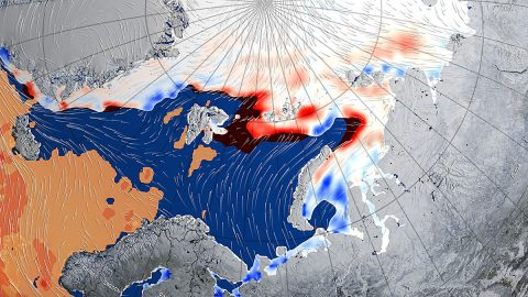 This image shows the winds and warm mass of air associated with a large cyclone that swept the Arctic in late December 2015-early January 2016, thinning and shrinking the sea ice cover. (NASA Goddard's Scientific Visualization Studio/Alex Kekesi, data visualizer)