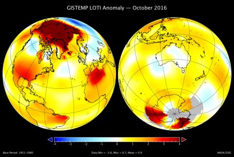 A map of the October 2016 LOTI (land-ocean temperature index) anomaly, showing that the Arctic region was much warmer than average. The United States and North Africa were also relatively warm. The largest area of cooler temperatures stretched across Russia
