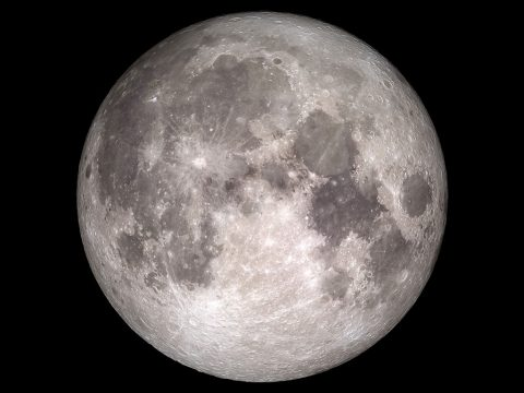 This image approximates the look of the November 14th, 2016, full moon with data from NASA's Lunar Reconnaissance Orbiter. (NASA Goddard's Scientific Visualization Studio)