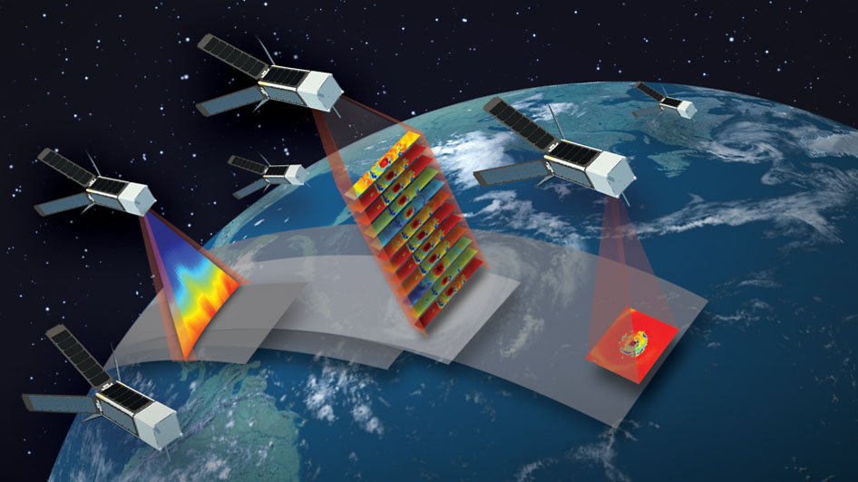 Artist's concept of the TROPICS mission, which will study hurricanes with a constellation of 12 CubeSats flying in formation. (MIT Lincoln Laboratory)