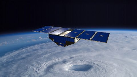 Artist's concept of one of the eight Cyclone Global Navigation Satellite System satellites deployed in space above a hurricane. (NASA)