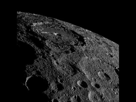 Occator Crater, home of Ceres' intriguing brightest areas, is prominently featured in this image from NASA's Dawn spacecraft. (NASA/JPL-Caltech/UCLA/MPS/DLR/IDA)