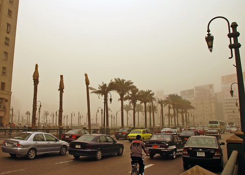 Human carbon dioxide emissions from fossil fuel burning and other sources have been mapped from OCO-2's global dataset. Traffic and pollution, Cairo, Egypt. (World Bank/Kim Eun Yeul)
