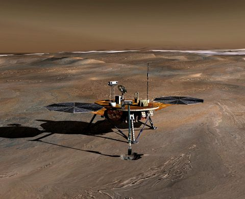The Phoenix Mars Lander used a lidar device built by Teledyne Optech to scan the Martian atmosphere in 2008. The resulting data showed ice crystals precipitating that could only have been water-based — in other words, snow. (NASA)