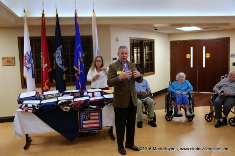 Tennessee State Representative Joe Pitts speaks at the Quilts of Valor presentation on Veterans Day.