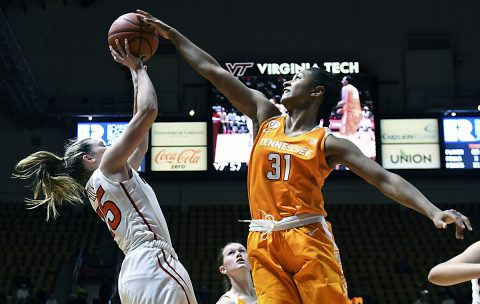 Virginia Tech guard Samantha Hill (25) attempts to shoot the ball as Tennessee Volunteers guard/forward Jaime Nared (31) defends in the second half at Cassell Coliseum. The Hookies won 67-63. (Michael Shroyer-USA TODAY Sports)